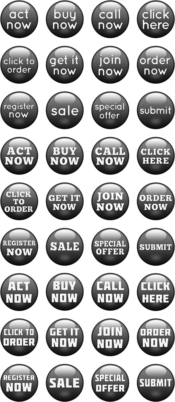 glossy black call-to-action buttons