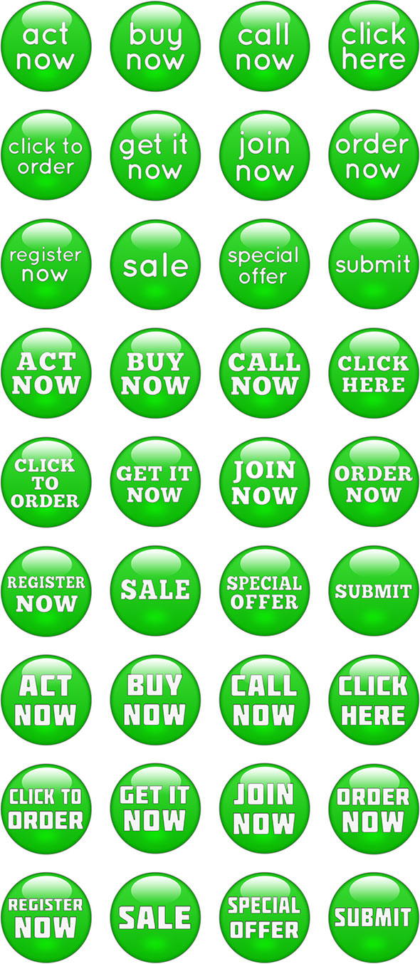 glossy green call-to-action buttons